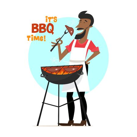 A cheerful man is cooking steak barbecue outdoors. Vector character in mid-century style. 1950s.