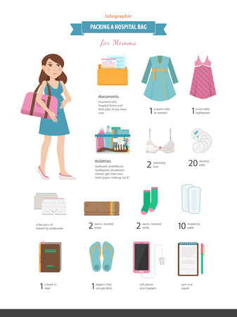 Packing a hospital bag. Checklist of the pack for the hospital or birth center. Vector illustrated infographic with a visual list for mommy.