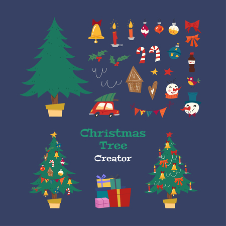 Christmas tree creator. Holiday kit with decorative Xmas objects: tree, garland, lanterns, balls, ginger biscuits, snowman, bow, candy. Retro style. Vector seasonal design easy editable. Stock Illustratie