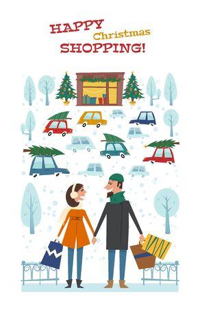 Compras de Natal feliz. Cartão de vetor com o casal com sacos nas mãos, na cidade de Natal. Ilustração do inverno no fundo da loja com presentes, árvores de Natal e carros. Foto de archivo - 91672779