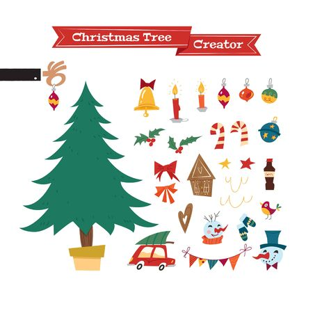 Christmas collection of decorative objects in mid-century style: tree, garland, lanterns, balls, ginger biscuits, snowman, bow, candy.