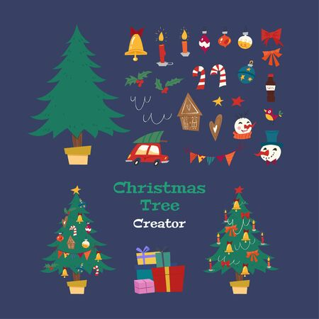Christmas Tree Creator. Holiday kit with decorative Xmas objects: tree, garland, lanterns, balls, ginger biscuits, snowman, bow, candy. Retro style. Vector seasonal design easy editable. Foto de archivo