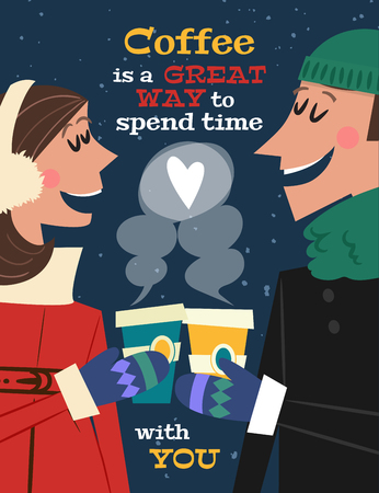 Coffee is a great way to spend time with you. Vector background with two cute cartoon characters: man and woman with cups of coffee in hands. Typography poster design in 1950s style.