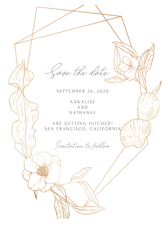 Wedding invitation frame; flowers, leaves, sea elements, isolated on white. Vector elegant sea card, gold background. Sketched floral branches, shell, anemones, algae, glitter geometric frame. Illustration