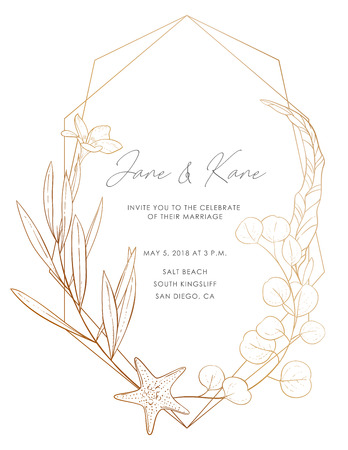 Wedding invitation card: flowers, leaves, ocean elements, isolated on white. Vector elegant sea card, gold background. Sketched floral branches, starfish, eucalyptus, algae, glitter geometric frame. Illustration