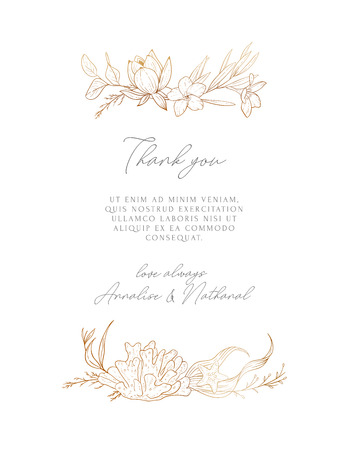 Wedding vector background with sea compositions. Modern design for wedding card, invitation, birthday, cover, flyer, brochure. Sketched floral branches, shell, sea elements, algae, gold background.
