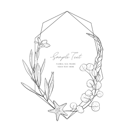 Wedding invitation frame; sea elements, flowers, leaves, isolated on white. Decorative elegant background. Sketched floral branches, starfish, eucalyptus, algae, geometric frame. Vector sea template. Foto de archivo - 123970774
