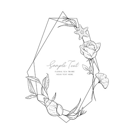 Wedding invitation frame; sea elements, flowers, leaves, isolated on white. Decorative elegant card. Sketched floral branches, shell, rose, algae, geometric frame. Vector sea template. Illustration