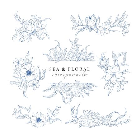 Hand drawn set of marine compositions isolated on white. Sea and floral arrangements. Vintage elements for invitations, greeting cards, covers and other items. Vector. Stock Illustratie