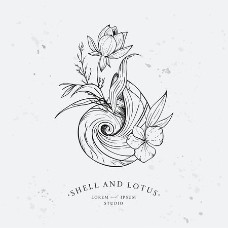 Shell entwined with algae and lotus flower. Marine logo concept on grunge background. Hand drawn vector illustration. Stock Illustratie