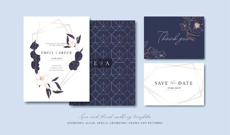 Set of cards with sea elements, flowers, leaves, pink gold geometrical frames and pattern. Wedding ornament concept. Vector decorative cards. Thank you card. Save the date card. Foto de archivo - 135873506