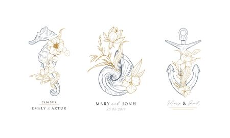 Set of nautical logos. Seahorse, shell and anchor entwined with algae and flowers. Marine logos concept on grunge background. Hand drawn vector illustrations. Foto de archivo - 135873515