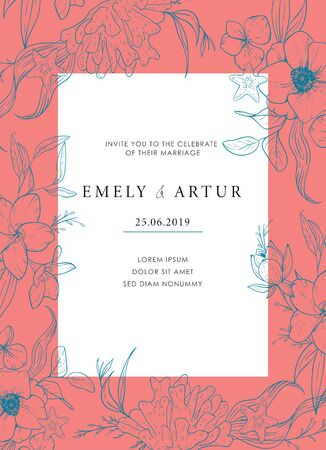 Sea wedding template of invitation with a warm coral shade. Vector card with sketch floral branches, coral, algae in the trend colors of living coral. Nautical art.