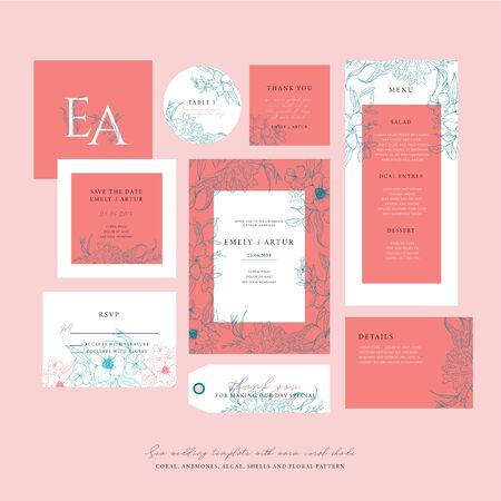 Sea wedding template with a warm coral shade. Big wedding collection with sketch floral branches, coral, algae in the trend colors of living coral. Nautical art. Foto de archivo - 135873521