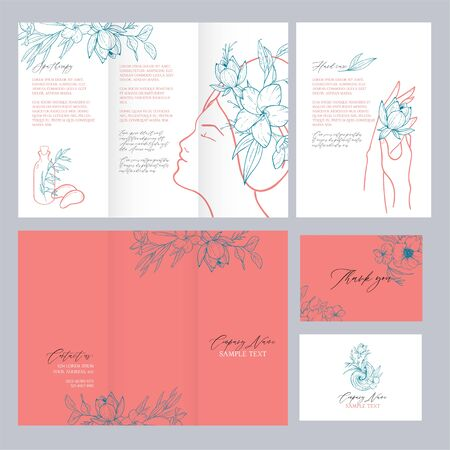 Spa concept. Vector template with a warm coral shade. Brochure, leaflet, thank you and a business card with place for your text. Fashion colection in the trend colors of living coral. Foto de archivo - 135873514
