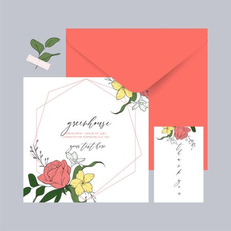 Cards templates with a warm coral shade. Illustration with sketch floral branches and algae in the trend colors of living coral. Ideal for invitations, flower shops, spa salons. Foto de archivo - 135873516