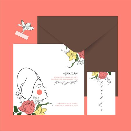 Set of cards with a warm coral shade. Templates with sketch floral branches, algae and women face in the trend colors of living coral. Ideal for invitations, flower shops, spa salons.