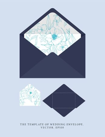 Wedding an envelope with a shade of blue depths. Vector template with sketch floral branches, coral, algae in the trend colors of the underwater world. Nautical art. Ideal for personal printing.