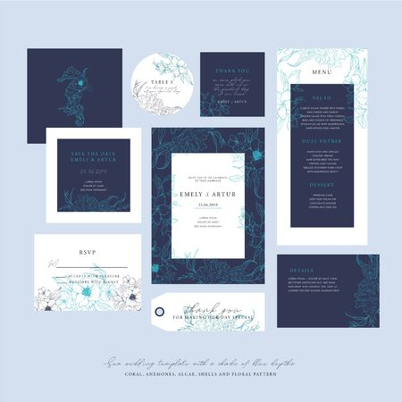 Sea wedding template with a shade of blue depths. Big wedding collection with sketch floral branches, coral, algae in the trend colors of the underwater world. Nautical art.