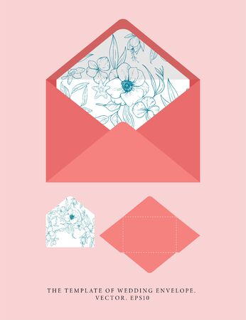 Wedding an envelope with a warm coral shade. Vector template with sketch floral branches, coral, algae in the trend colors of living coral. Nautical art. Ideal for personal printing.