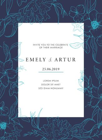 Sea wedding template of invitation with a shade of blue depths. Vector card with sketch floral branches, coral, algae in the trend colors of the underwater world. Nautical art.