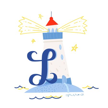 Funny marine alphabet for kids education. Vector handwritten typeface. Letter L is for a lighthouse. Cartoon alphabet. ABC. Illustration
