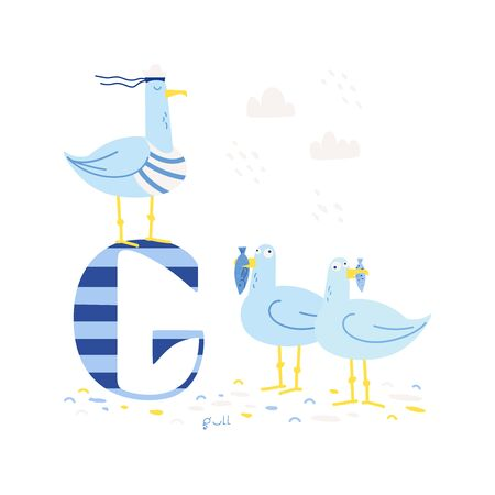 Funny marine alphabet for kids education. Vector handwritten typeface. Letter G is for a gull. Cartoon alphabet. ABC.