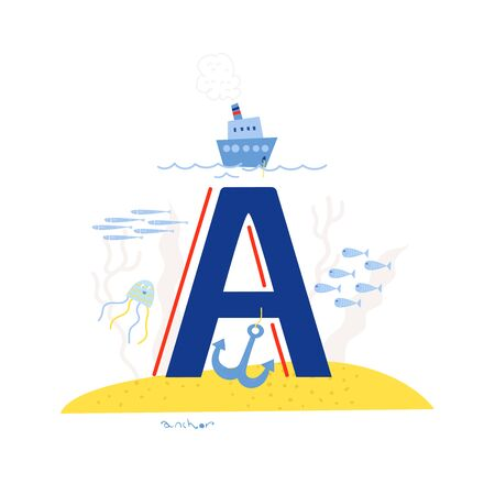 Funny marine alphabet for kids education. Vector handwritten typeface. Letter A is for a anchor. Cartoon alphabet. ABC. Illustration