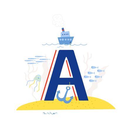 Funny marine alphabet for kids education. Vector handwritten typeface. Letter A is for a anchor. Cartoon alphabet. ABC. Stock Illustratie