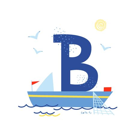 Funny marine alphabet for kids education. Vector handwritten typeface. Letter B is for a boat. Cartoon alphabet. ABC.