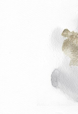 Old paper background with spots of inks and gold. Handdrawn paper texture. Perfect for wedding invitation, save the date cards. Watercolor paper.