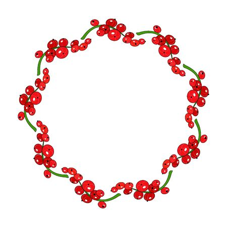 currants: Round red currants frame Illustration