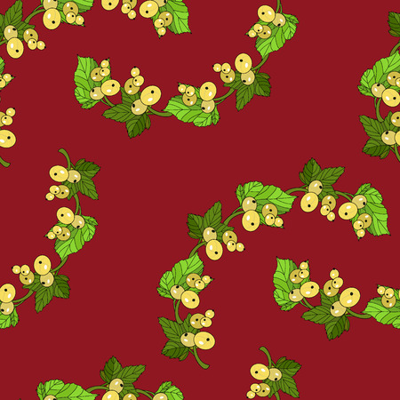 currants: White currants seamless pattern