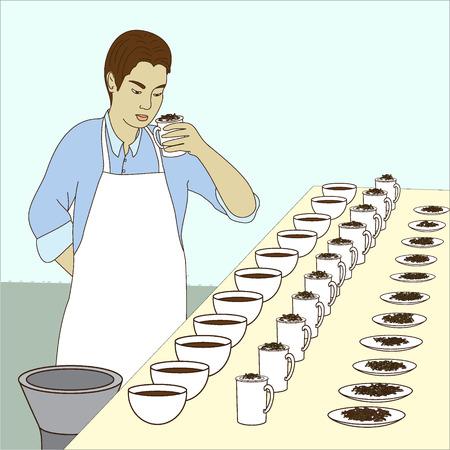 Taster.Cup of tea and tea leaf, tea tasting.