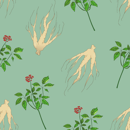 oriental medicine: Ginseng seamless pattern Illustration