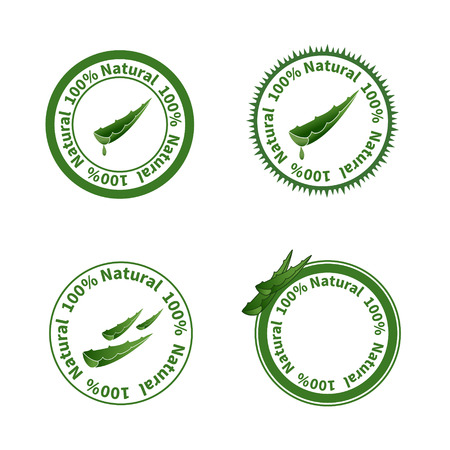 Set of aloe vera labels illustration