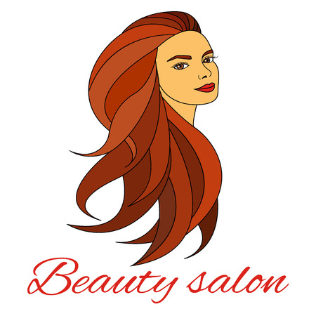 long red hair: Woman face with long hair Illustration