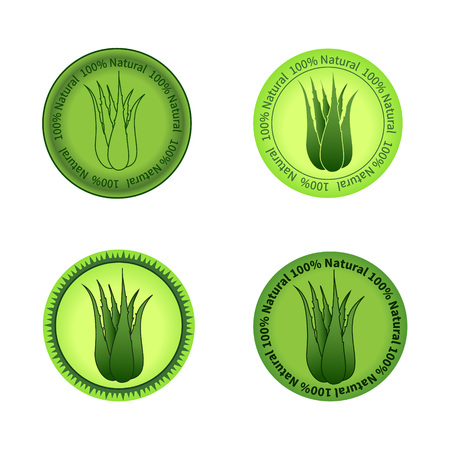 Set of aloe vera labels vector