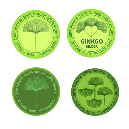 ginkgo: Set of Ginkgo biloba labels