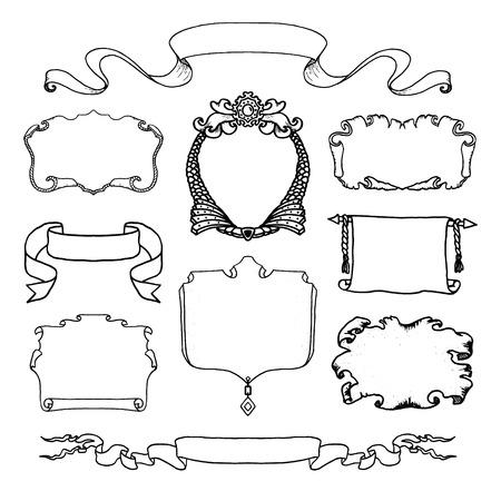 Vintage  hand drawn design elements set. Page decor banners ribbons. Decorative ornate frames.  Place for text message.Vector illustration. 일러스트