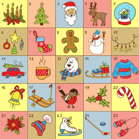 Christmas Advent Calendar.Big collection of Christmas doodles elements. Design set for winter holidays decoration.