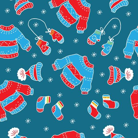 mittens: Christmas seamless pattern with hats, sweaters, mittens,  snowflakes