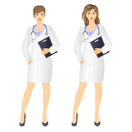 clinical staff: Vector illustration of Smiling woman doctor with documents