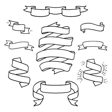 parchment scroll: Vintage  hand drawn design elements set. Page decor banners ribbons. Decorative ornate frames.  Place for text message.Vector illustration. Illustration