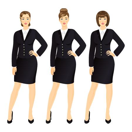traje formal: Mujer de negocios exitosa en la ilustración vectorial juego determinado de