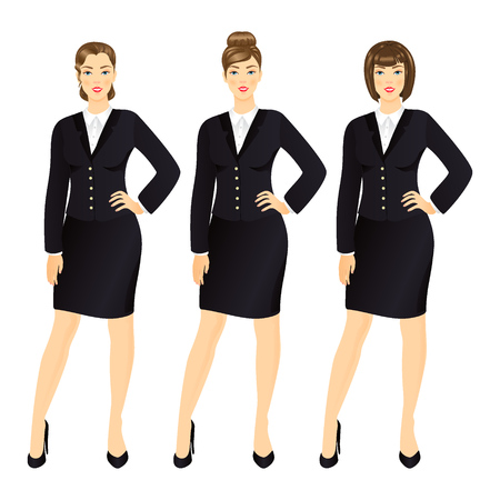 skirt suit: Successful business woman in suit  set vector illustration