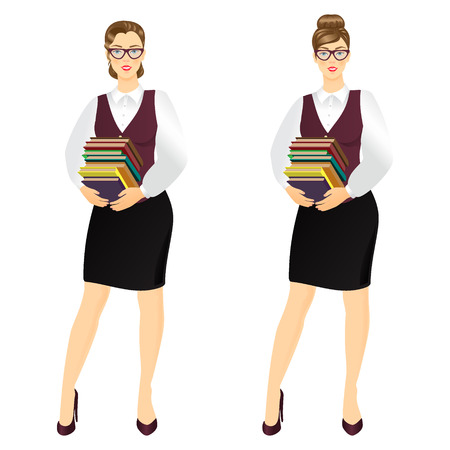 bookseller: Vector illustration of young  librarian holding stack of books