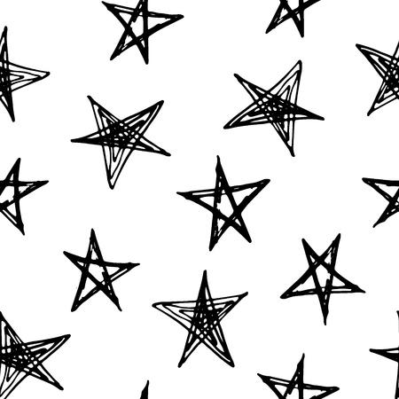 dessin noir et blanc: Vector illustration de doodle seamless dessin� � la main avec des �toiles.
