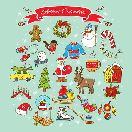 adviento: Colecci�n de Navidad Adviento Calendar.Big de elementos de Navidad doodles. Dise�o determinado para la decoraci�n de vacaciones de invierno. Vectores