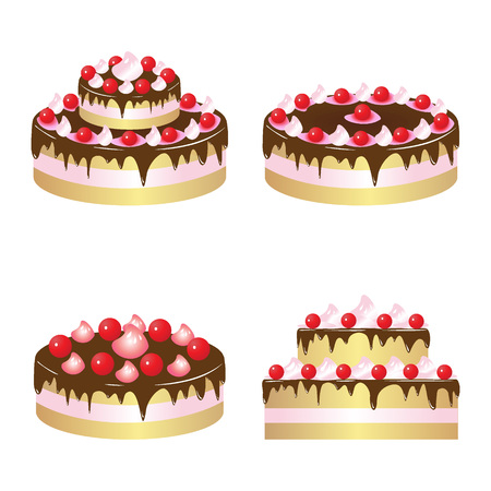 Vector chocolate cake with cherry isolated on a white background.